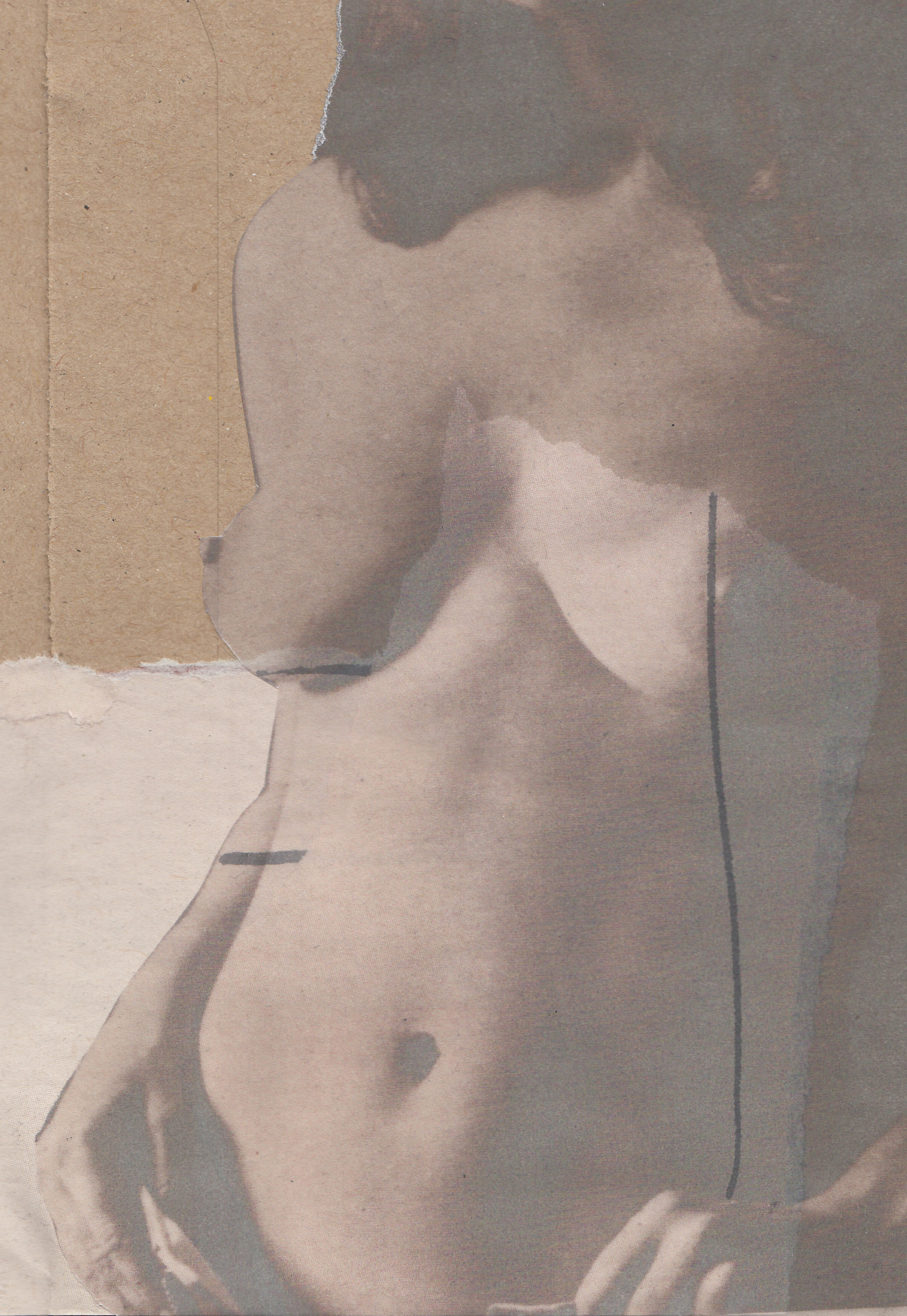 collage artwork nude woman cake